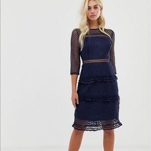 NWT ASOS Liquorish Blue Lace Long Sleeve Dress